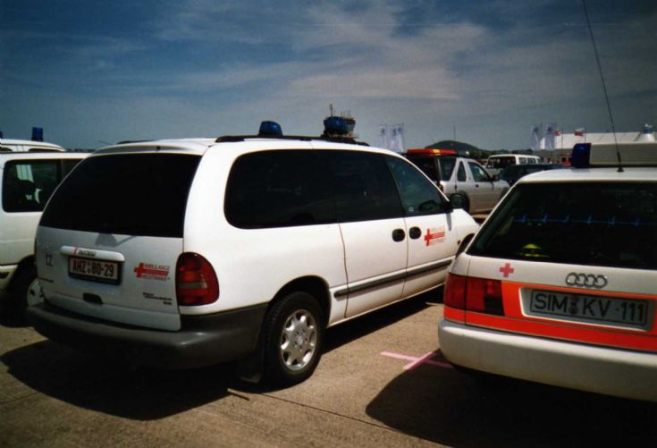 White Chrysler Voyager personnel carrier AMZ-80-29