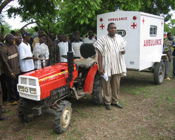 Tractor drawn ambulance trailer Ghana
