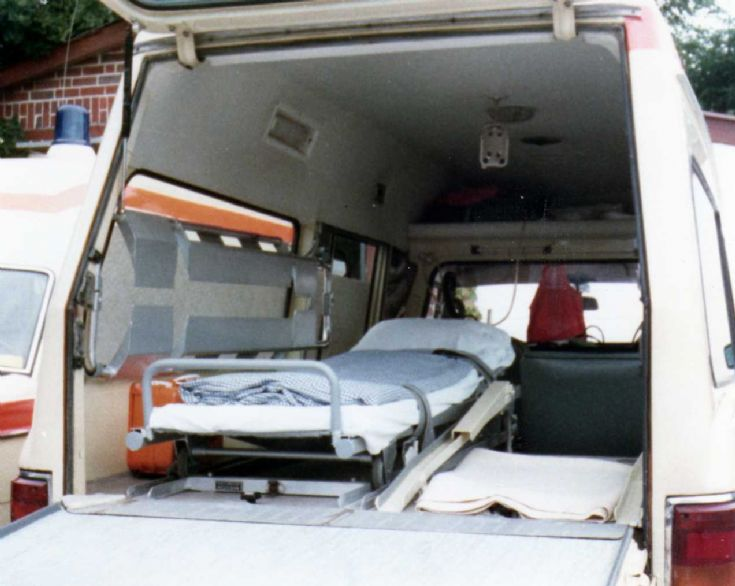 Internal view of MB 220-D ambulance