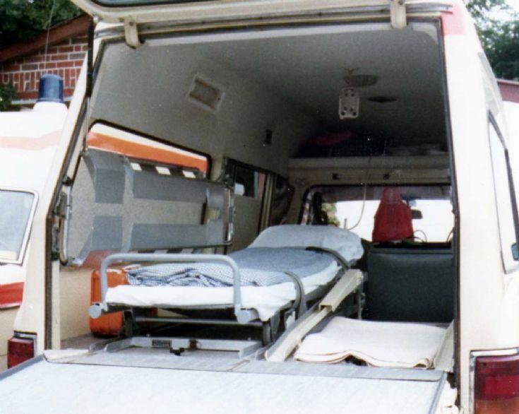 Internal view of MB 220-D ambulance